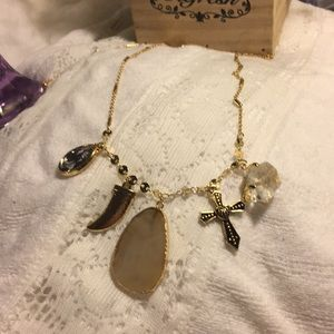 """18"""" stone and glass necklace"""